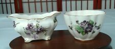 VICTORIAN VIOLETS OLD ROYAL & HAMMERSLEY OPEN SUGAR BOWLS MADE IN ENGLAND