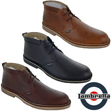 Lambretta Desert Boots Leather Grain Ankle Lace MOD Carnaby Mens Soft Round Toe