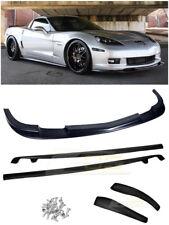 For 05-13 Corvette C6 Z06   ZR1 Style ABS Plastic Front Lip Splitter Side Skirts