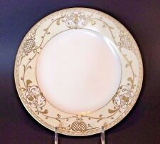 Noritake Hand Painted Ivory And White Plate With Raised Gold Moriage