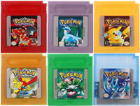 Pokemon For Game Boy Series Nintendo GBC Blue, Silver,Gold, Red,Green Eng 16 bit