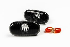 Renault Clio 98-12 Smoked Side Indicators Repeaters With Bulbs Set Left Right