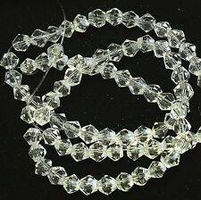 390 Pcs approx.(5 STR OF 12.5'') x CRYSTAL CLEAR~BICONE~FACETED~GLASS BEADS,4 MM
