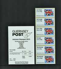 GUERNSEY UNION JACK FLAG 2015 AUTUMN STAMPEX POST & GO COLLECTORS STRIP GG01