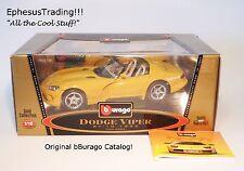 bBurago Burago 1993 Dodge Viper RT/10 Roadster 8l V10 Yellow Tan 3365 1/18 MINT!