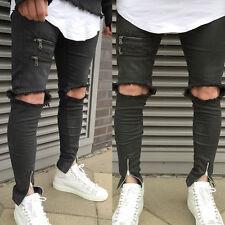 Men's Slim Skinny Runway Straight Denim Pants Destroyed Ripped Punk Jeans