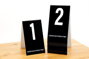 Table Numbers 1-20- Tent Style, Black w/White Numbers, Free shipping