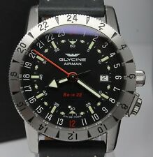 Glycine Airman Base 22 GMT Mens Automatic 41mm Steel Watch ref.3887 w Boxes