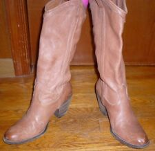 FRYE BROWN LEATHER MID CALF PULL ON HEELED BOOTS SZ 6B