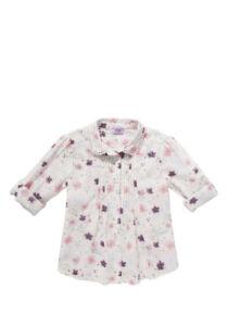 BNWT, Floral Metallic Woven, Blouse, Cream/Pink Mix, Girl, Size 1, 12-18 Months