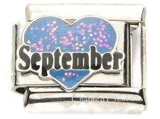 September Heart Love Birthstone Birthday 9mm Italian Charm Stainless Steel Link