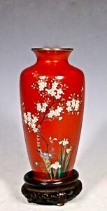FINE SILVER WIRE JAPANESE MEIJI CLOISONNE VASE GRACEFUL WHITE FLOWERING TREE ON