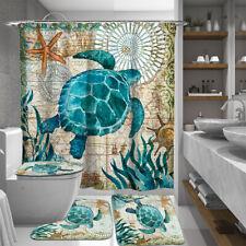 Sea Turtle Waterproof Bathroom Shower Curtain Anti-slip Toilet Cover Rug