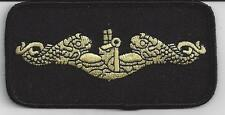Gold Submarine Dolphins - 4 inch rectangle - Black Background  BC Patch # C6354