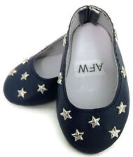 Navy with Silver Stars Flats Shoes made for 18 inch American Girl Doll Clothes