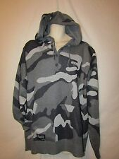 mens rocawear sweater henley hoodie L nwt $68 gray black camo