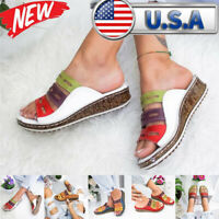 US Women's Three-Color Stitching Sandals Casual Open Toe Wedges Flats Shoes Hot