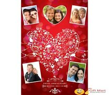 PERSONALIZED Marriage Anniversary Picture Photo GREETING CARD 5 Red Heart Design