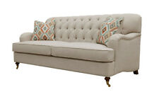 Franklin Light Beige Poly-Linen 2 Seater Sofa with Scatter Cushions - BRAND NEW