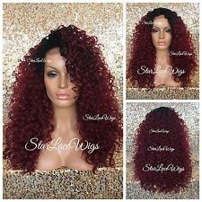 Curly Deep Wave Lace Front Wig Layer Burgundy Black Roots Middle Part Heat Safe