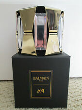 NWT Auth Balmain H&M Gold Clear Black Suede Wide Statement Cuff Bracelet SOLDOUT