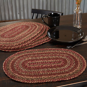 6 Cider Mill Burgundy Olive Variegated Oval Jute Braided Country Placemats