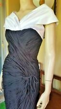 Ruched Chiffon Black Wiggle Cocktail Vlv Bombshell Crossover Vtg 1950s Dress