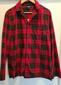 Nautica Men's 2-Piece Sleepwear Extra Soft Fleece Pajama Set, Small, Red, Plaid