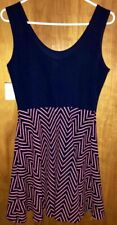 Junior's XL Dress NWT Derek Heart Navy Bright Coral Fit and Flare Stretch