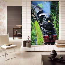3D Black Train A77 Transport Wallpaper Mural Self-adhesive Removable Zoe