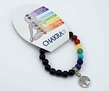 **BLACK ONYX & CHAKRA BEAD BRACELET WITH TREE OF LIFE CHARM - HEALING / REIKI**