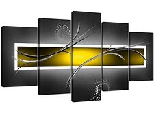 Extra Large Yellow and Grey Abstract Canvas Prints - Five Panel