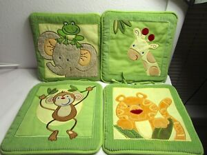 NoJo Nursery Soft Wall Decor Hangings Jungle Animals Green Elephant Monkey Tiger