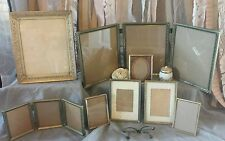Lot 8 Vtg nursery gold Picture photo FRAMes assorted wedding brass trifold set