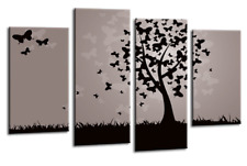 Floral Wall Art Grey Black Butterfly Tree 4 Panel Canvas Abstract Picture