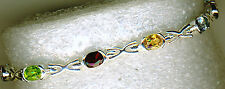 "925 Sterling Silver Faceted Oval Gemstone Short Cross Style Bracelet 6.3/4"""
