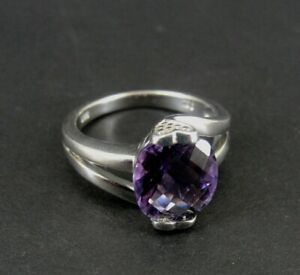 Ring Silver Amethyst Purple Faceted Stone Sterling 925 Ring Size 7 Band