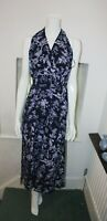 Oasis Halter neck Navy Purple Floral Summer Sleevless Beach Stretch Maxi Dress