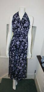 Oasis Neckholder dunkelblau lila Blumen Sommer Sleevless Strand Stretch Maxi Kleid