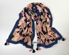 J.Crew Floral Cotton-Blend Scarf With Tassels NWT