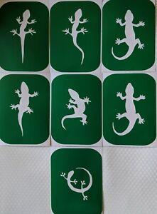 7 x Lizards-1 Body Art Stencils And Glass Etching Stencils Glitter Stencil Art