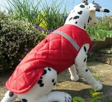"""2XL Dog Coat. Quilted-Waterproof. 25"""" Long 28-32"""" Wide. 21-23"""" Neck. Bright Red"""