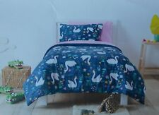 Pillowfort Swans Fairies Twin Comforter Sham Sheets Set ~ NWT Blue Pink