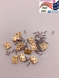 Miniature Door 12pcs Hinges & 48pcs Screws 1/12 Dollhouse Closet Cabinet Fixture