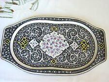 """PERSIAN * VTG  1960's ENAMELED FINE ART HANDMADE PRINTED  MINA KARI * 13 """" PLATE"""