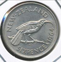 New Zealand 1964 Sixpence 6d Elizabeth II - Uncirculated