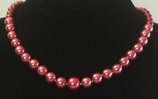 6-14MM Rose Red South Sea Shell Pearl Necklace NEW (silk gift bag) A36