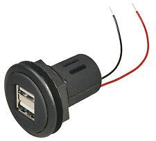 12V/24V Doppel USB Power Steckdose - 2x2,5A Einbau Ladedose für KFZ Auto