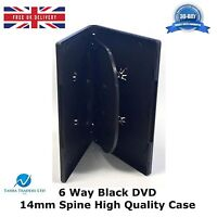 25 x 6 Way Black DVD 14mm Spine Holds 6 Discs Empty New Replacement Slim Case