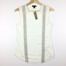 J. Crew XS Extra Small Embellished Tank Top White